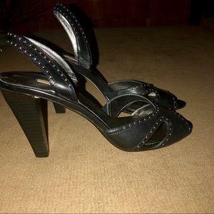 Max Studio soft black leather heels